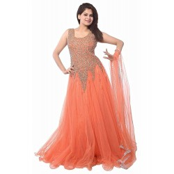 Peach Color Women's Net Gown