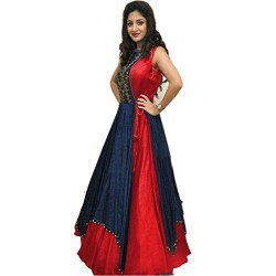 Red Blue Silk Dress/ Gown...