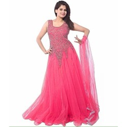 Pink Color Women's Net Gown