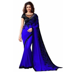 Blue Georgette Embroidered...
