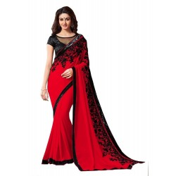 WE0048: Red-Black Georgette...
